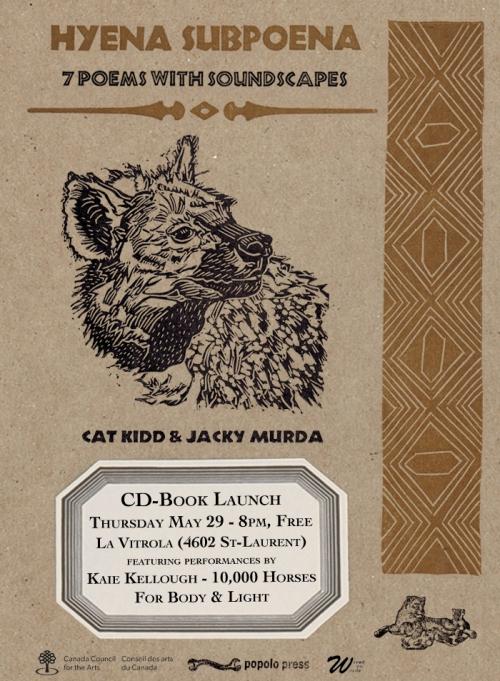 Poster: Hyena Subpoena launch, May 29--LaVitrola